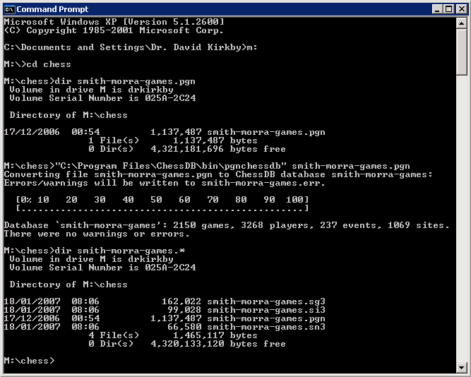DOS box showing use of pgnchessdb
