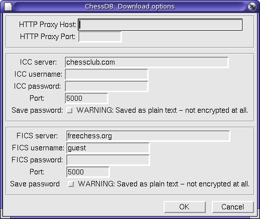 chess server and proxy server configuration